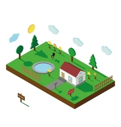 Isometric house3d village landscapeisolated vector