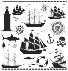 Set of nautical design elements vector