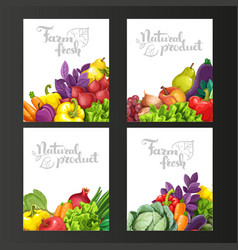 Four vertical banners with fresh fruits and vector image