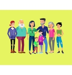 Set of big happy family character vector image