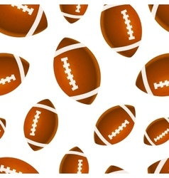 Many bright rugby balls on white seamless pattern vector image