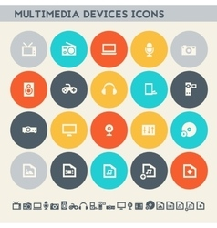 Multimedia devices icon set multicolored flat vector