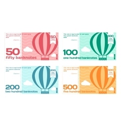 Abstract cute color banknotes set vector
