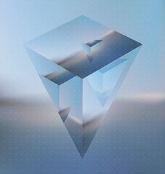 Abstract isometric prism with the reflection of vector