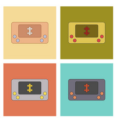 assembly flat icons kids toy console vector image