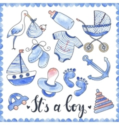 Baby boy watercolor elements set vector
