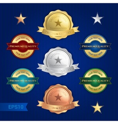 Badge satisfaction guaranteed and premium quality vector image vector image