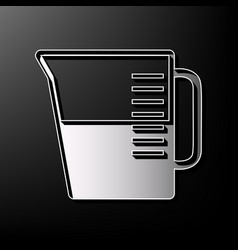 Beaker sign gray 3d printed icon on black vector