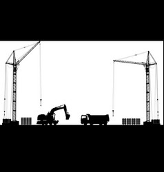 Building site with detailed silhouettes of vector
