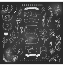 Chalk Catchwords ribbons ampersands design vector image vector image
