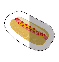 Color hot dog fast food icon vector