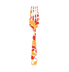 Colorful fork printed floral design vector