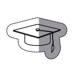 Contour emblem graduation hat icon vector
