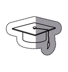 contour emblem graduation hat icon vector image vector image