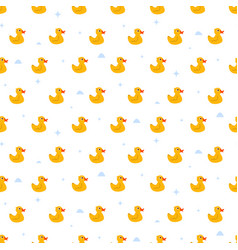 Cute ducky floats on pond seamless pattern vector