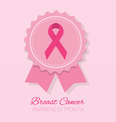 cute pink breast cancer awareness month ribbon vector image vector image