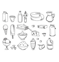 doodle dairy and milk products hand drawn vector image vector image