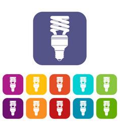 Energy saving bulb icons set vector