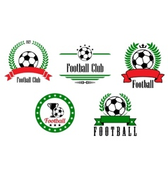 Football or soccer emblems and badges set vector