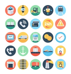 Global logistics colored icons 3 vector