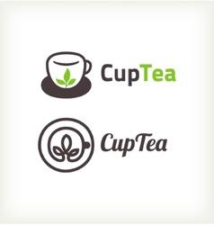 Green tea symbols vector image vector image