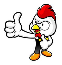 Happy chicken character best gesture with both vector