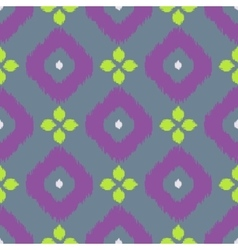 Ikat geometric seamless pattern Green and purple vector image vector image