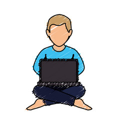 Man with laptop icon vector