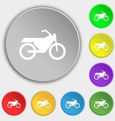 Motorbike icon sign symbol on eight flat buttons vector