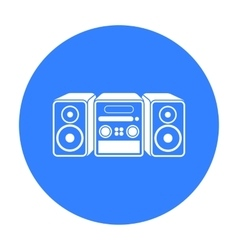 Music center icon in black style isolated on white vector
