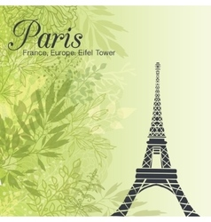 Paris eifel tower on green leaves spring vector