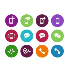 Phone circle icons on white background vector image vector image