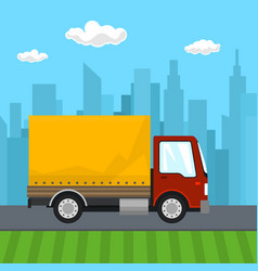 Red orange cargo delivery truck vector