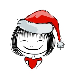 Santa girl portrait sketch for your design vector image