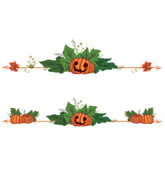 Set of dividers with pumpkins vector