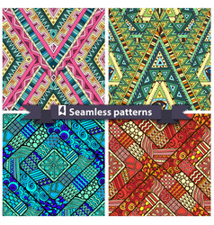 Set of tribal doddle rhombus seamless pattern vector image vector image
