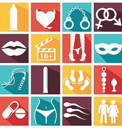 Sex icons set symbol xxx vector image