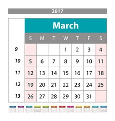 Simple digital calendar for March 2017 printable vector image vector image