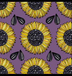 Sunflower seamless pattern with flowers on a vector
