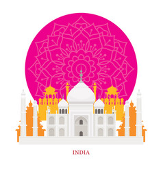 taj mahal india landmarks with decoration vector image