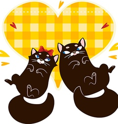 Valentines Day Card with black cats vector image vector image