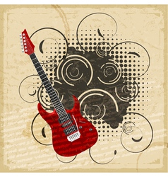 Vintage paper background of electric guitar vector image vector image