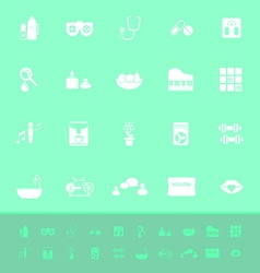 Wellness color icons on green background vector