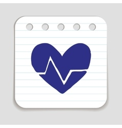 Doodle heart rate icon vector
