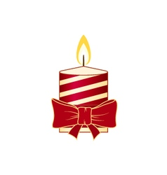 Christmas candle isolated on white background vector