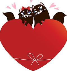 Valentines day card with black cats vector