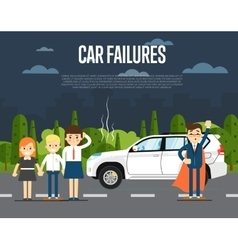Car failures concept with people vector