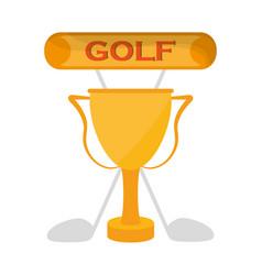 Golf golden trophy clubs emblem vector