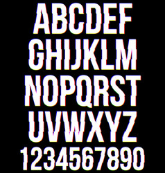 glitched font letters and numbers collection vector image