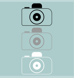 Camera black grey white icon vector